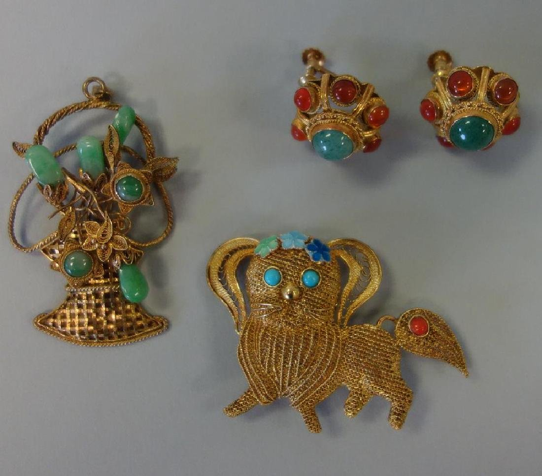Chinese Filigree Pendant, Brooch & Earrings
