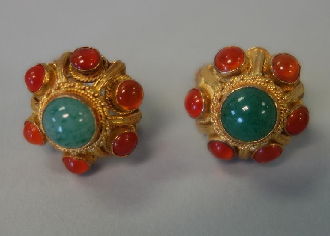 Chinese Filigree Pendant, Brooch & Earrings - 2