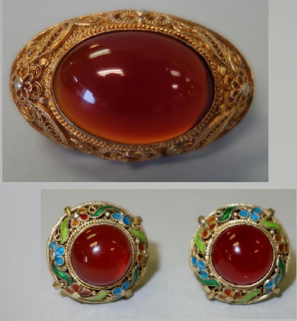 Chinese Filigree & Carnelian Brooch & Earrings