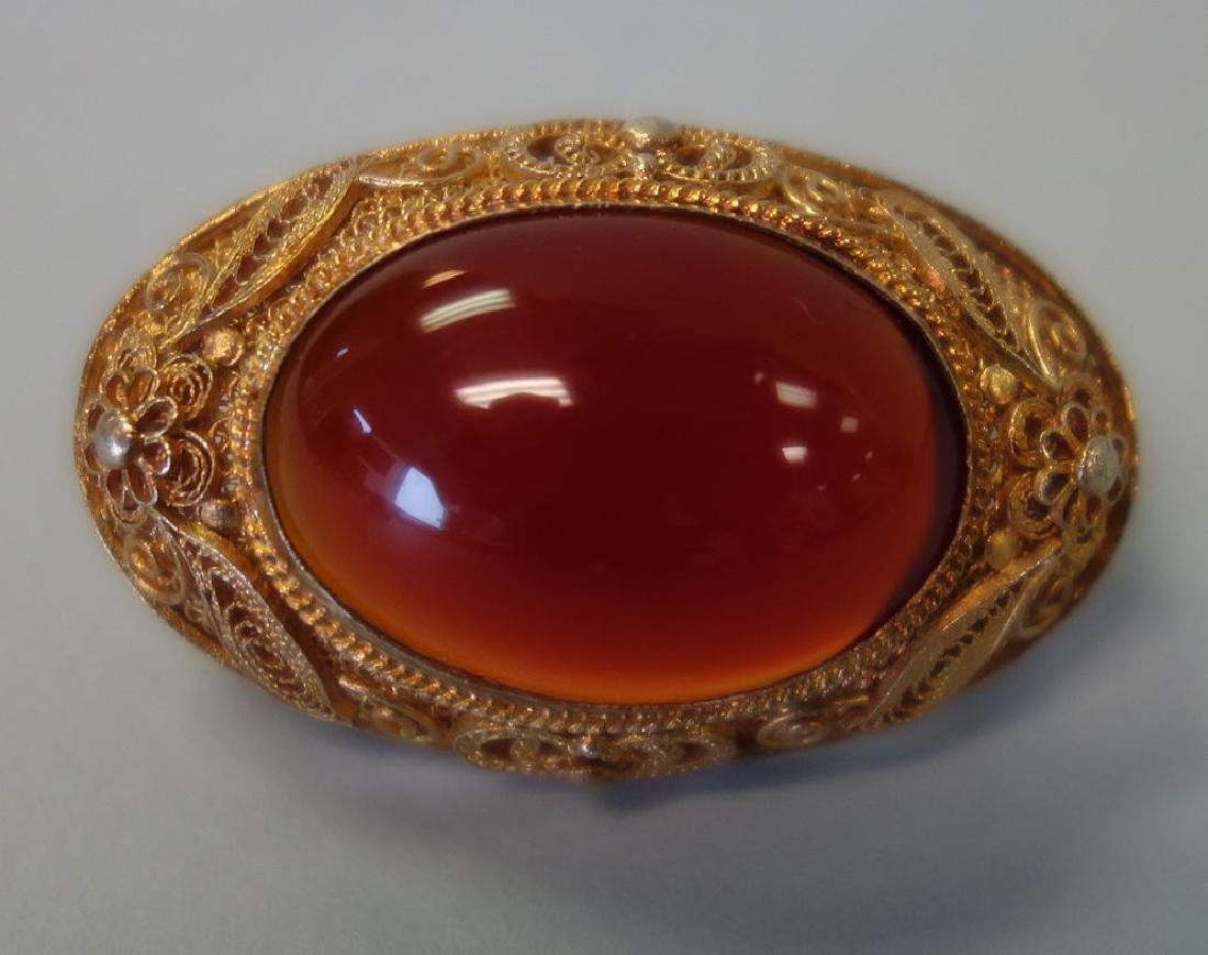 Chinese Filigree & Carnelian Brooch & Earrings - 2