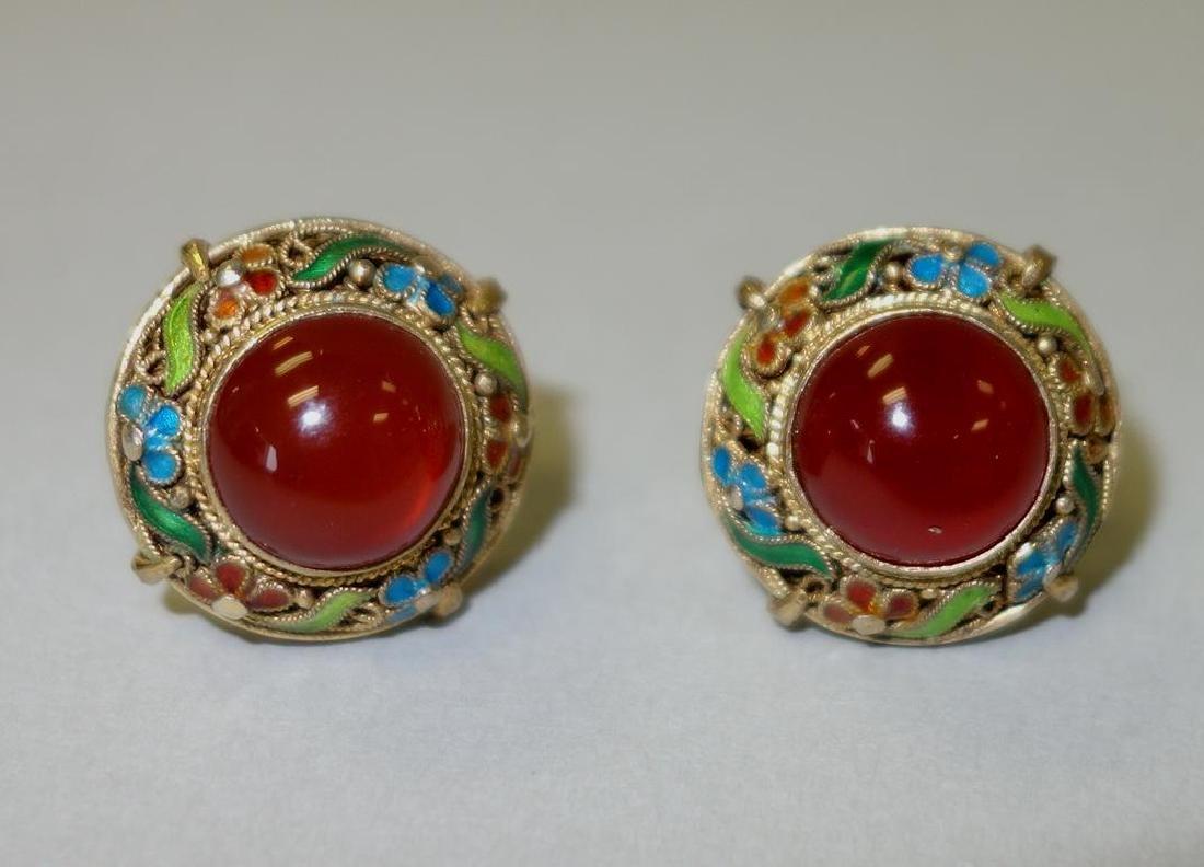 Chinese Filigree & Carnelian Brooch & Earrings - 3