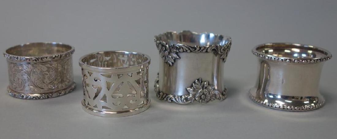 4 Sterling Silver Napkin Rings, Gorham + English