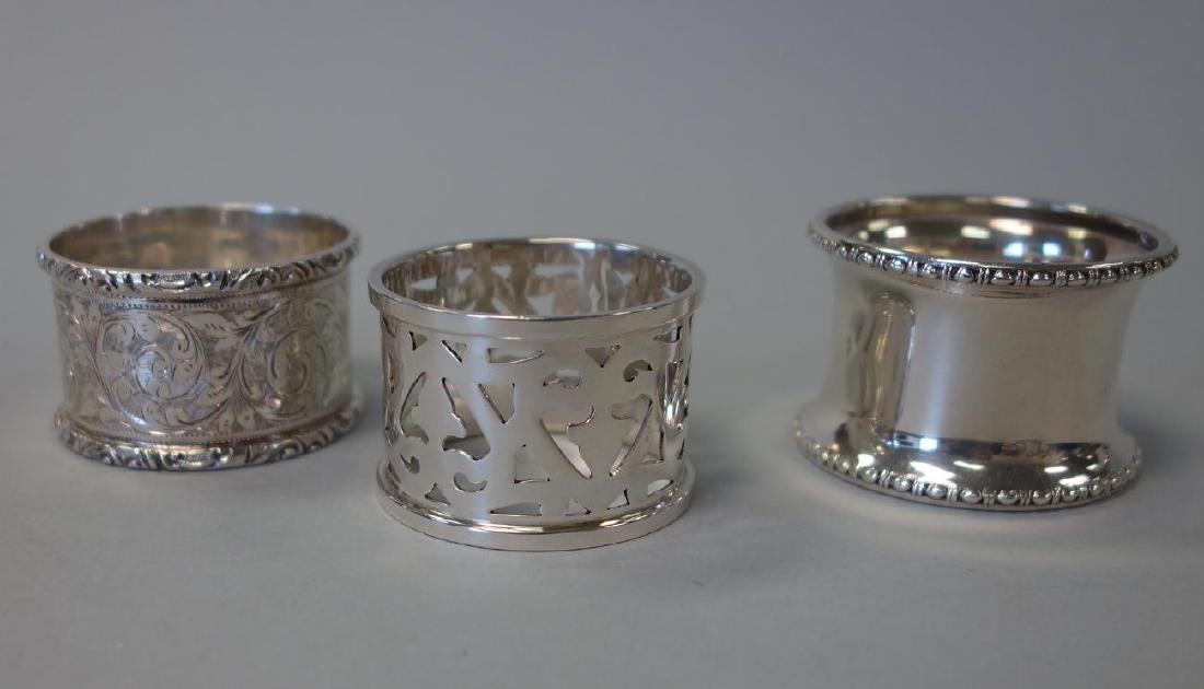 4 Sterling Silver Napkin Rings, Gorham + English - 3