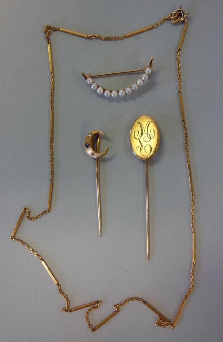 18K, 14K & 10K Gold Pins & 14K Gold Necklace