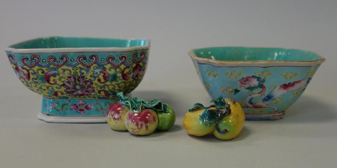 2 Chinese Porcelain & Enamel Bowls + Fruit