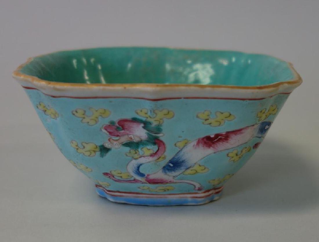 2 Chinese Porcelain & Enamel Bowls + Fruit - 3