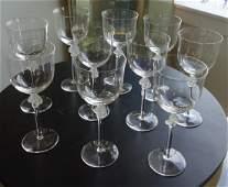 10 Lalique Crystal Wine Goblets, Roxane Ptn