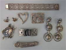 Vintage Sterling Jewelry, Brooches, Earrings +