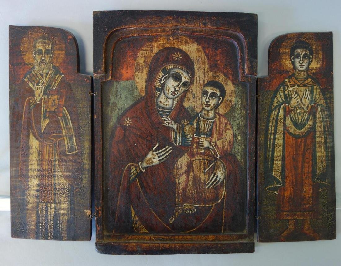 19thc Greek Triptych Icon, Virgin Hodegetria