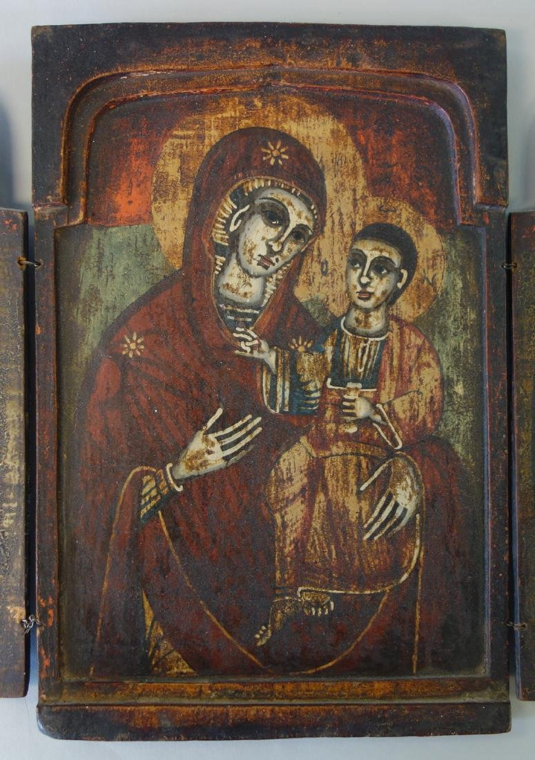 19thc Greek Triptych Icon, Virgin Hodegetria - 2