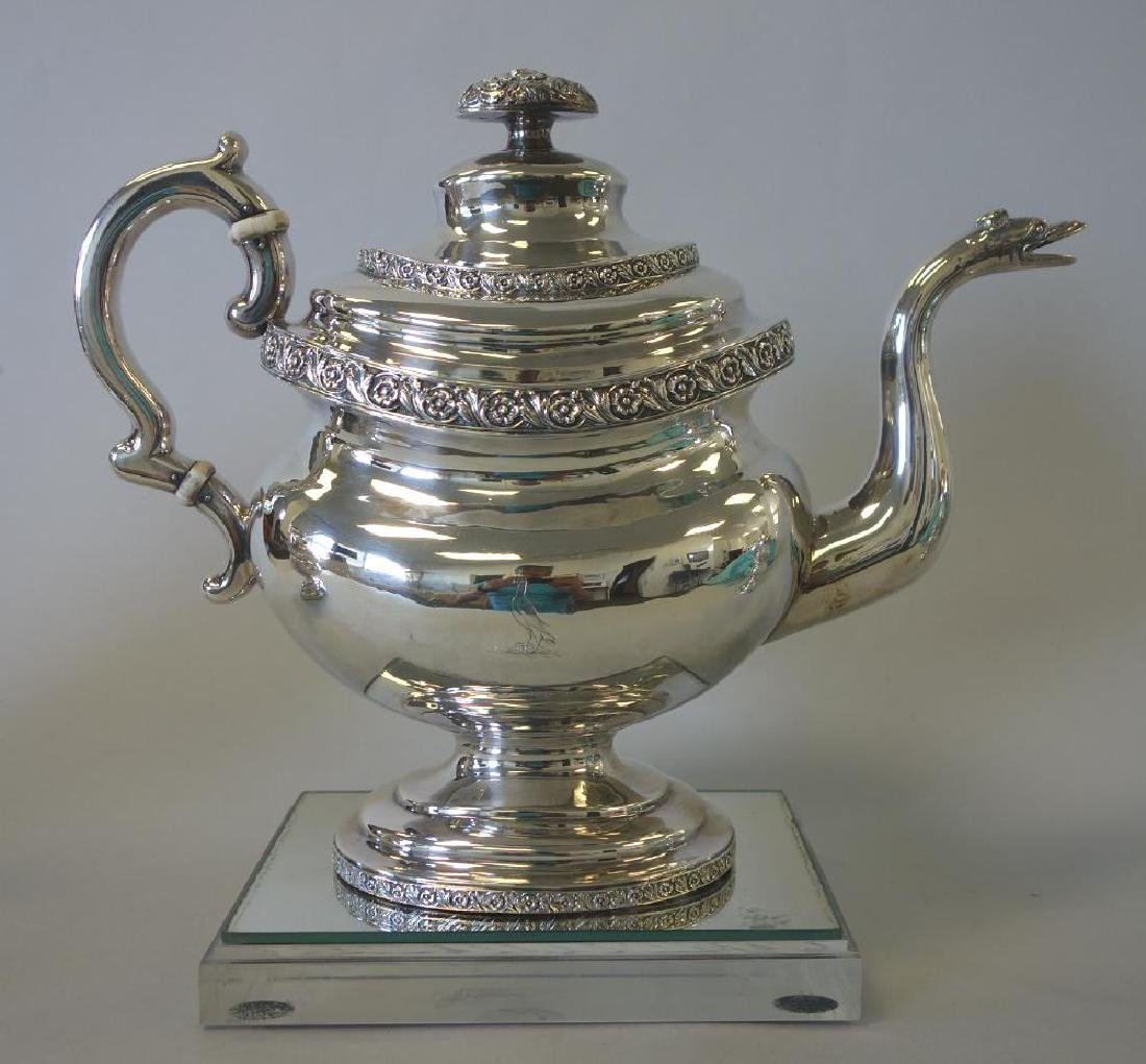 Peter Chitry (American) Coin Silver Tea Set, c1815 - 2
