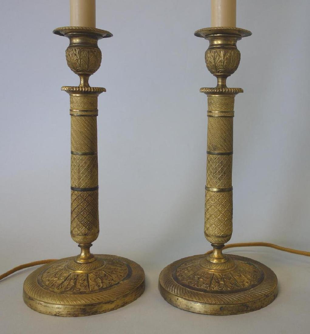 French Gilt Bronze Candlesticks / Lamps