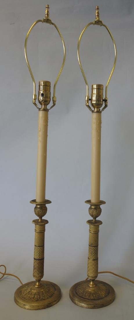 French Gilt Bronze Candlesticks / Lamps - 2