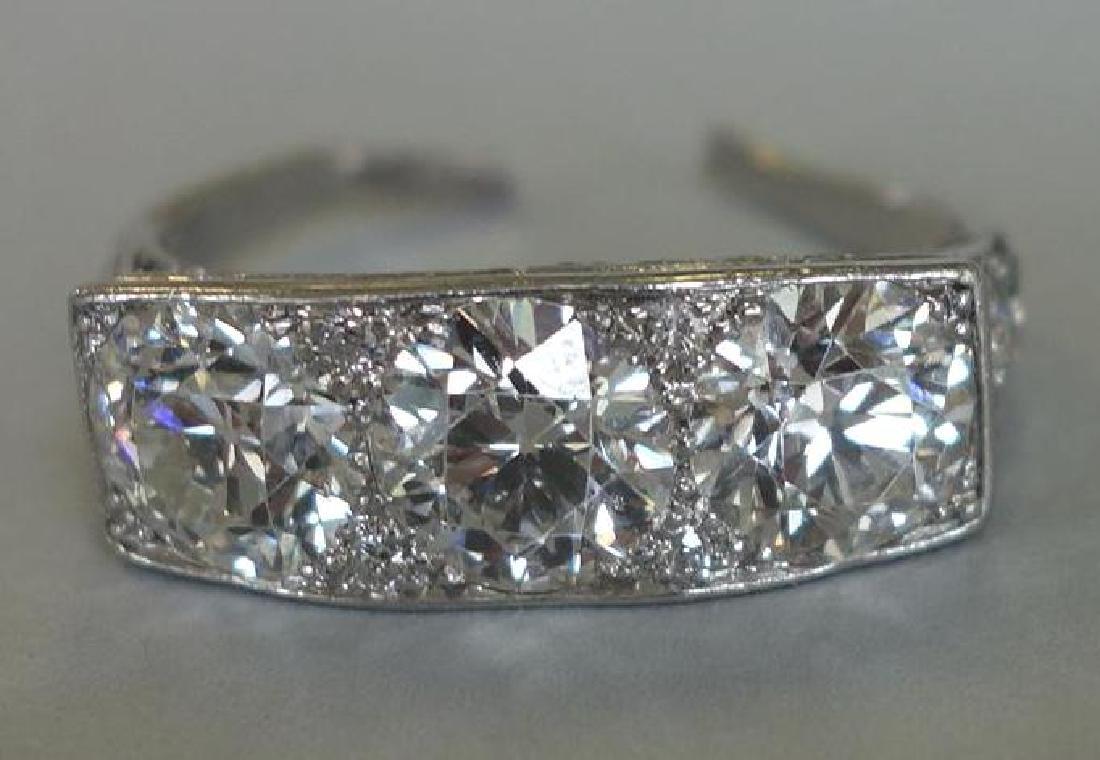 Ladies Platinum Diamond Ring, 4 Carats + - 2