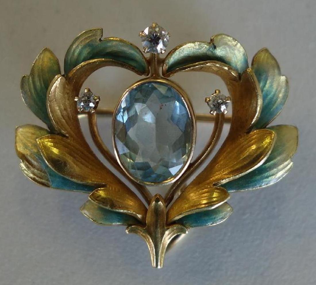 14K Gold, Aquamarine & Diamond Watch Brooch
