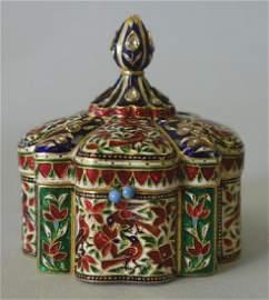 22K Gold, Diamond & Enamel Mughal Box