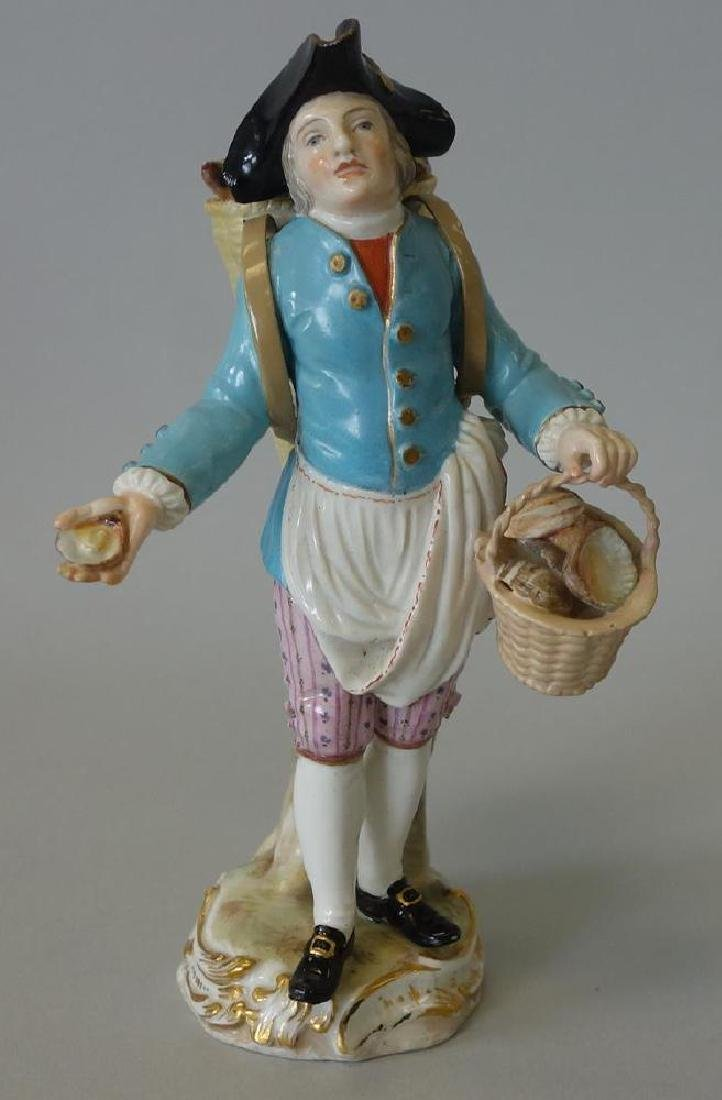 Meissen Porcelain Male Figure w/ Basket of Shells