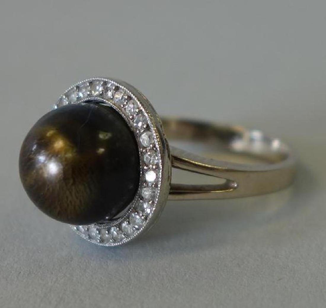 Tahitian Black Pearl & Diamond 14K White Gold Ring