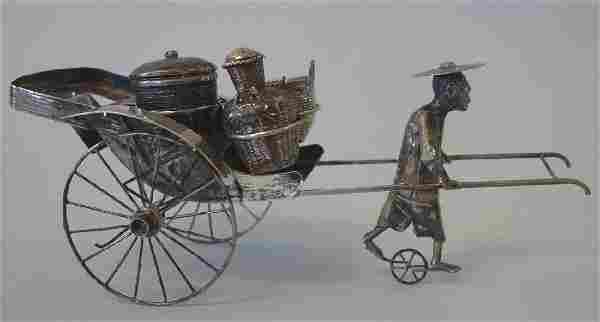 Chinese Export Silver Rickshaw Condiment Set