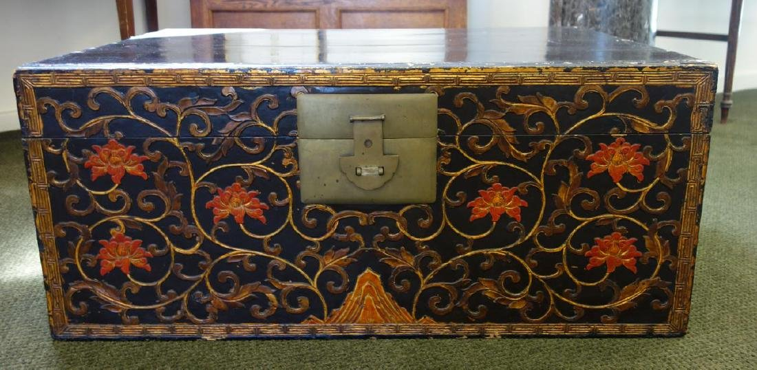Chinese Lacquered Camphor Wood Chest