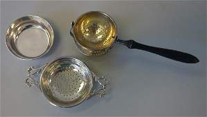 2 Sterling Tea Strainers, American & English