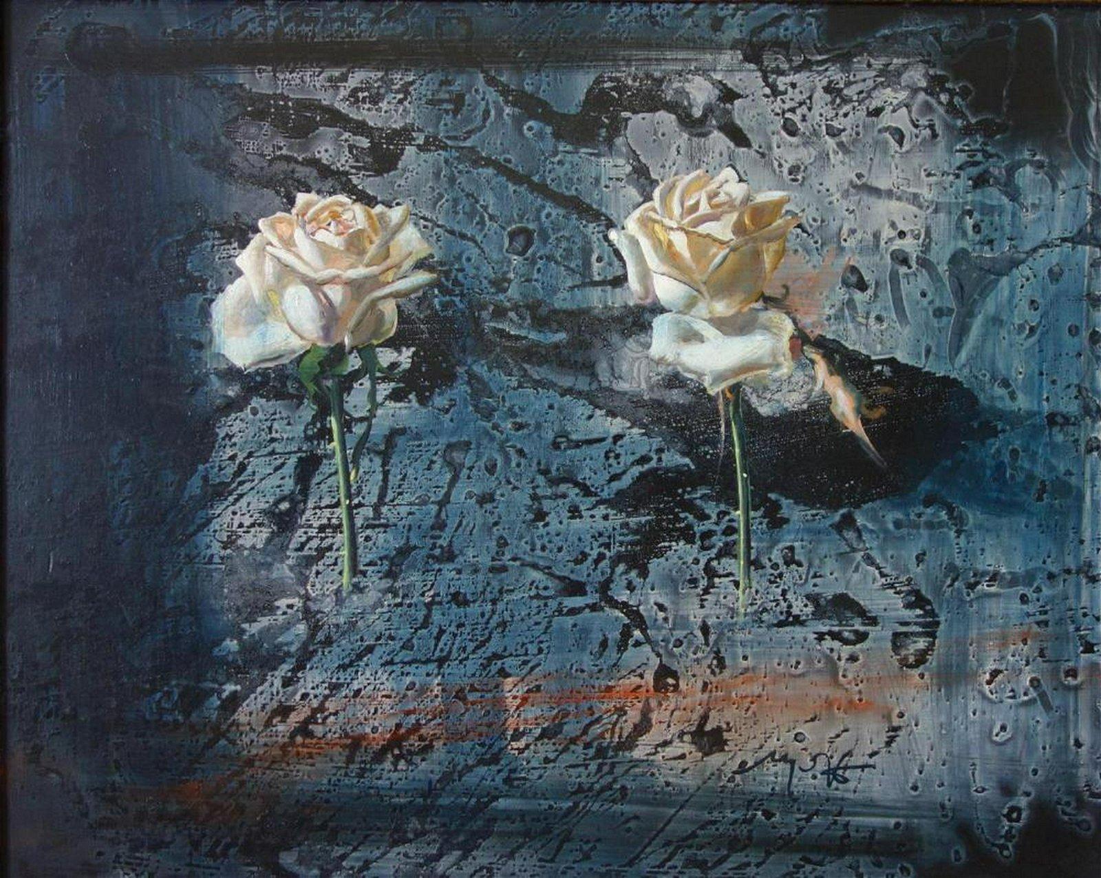 Mario Madiai (b-1944) Roses, Oil on Board + Book