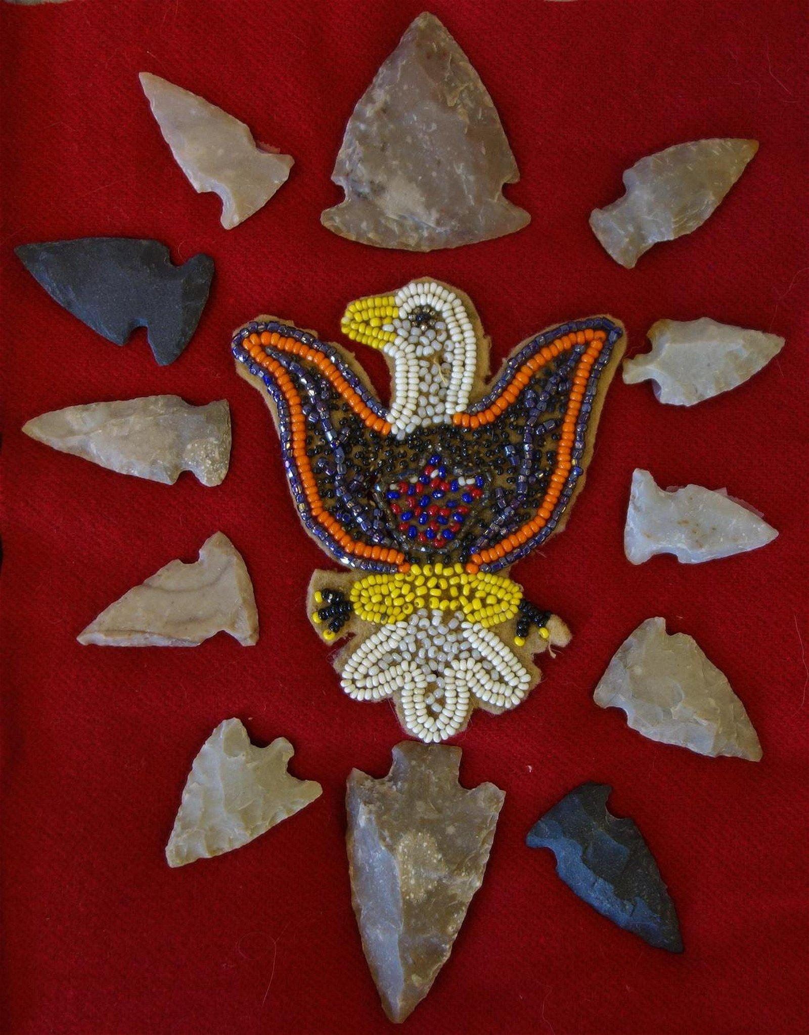 Indian Arrowhead Collection & Beaded Eagle