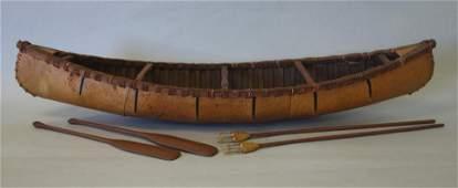 Antique Birch Bark Canoe Model, Paddles & Harpoon