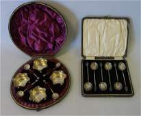 English Sterling Salts & Coffee Spoons, Cased