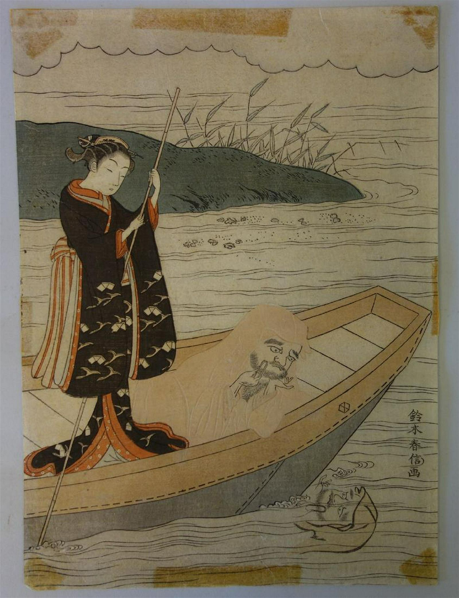 Suzuki Harunobu Woodblock, Daruma & Beauty