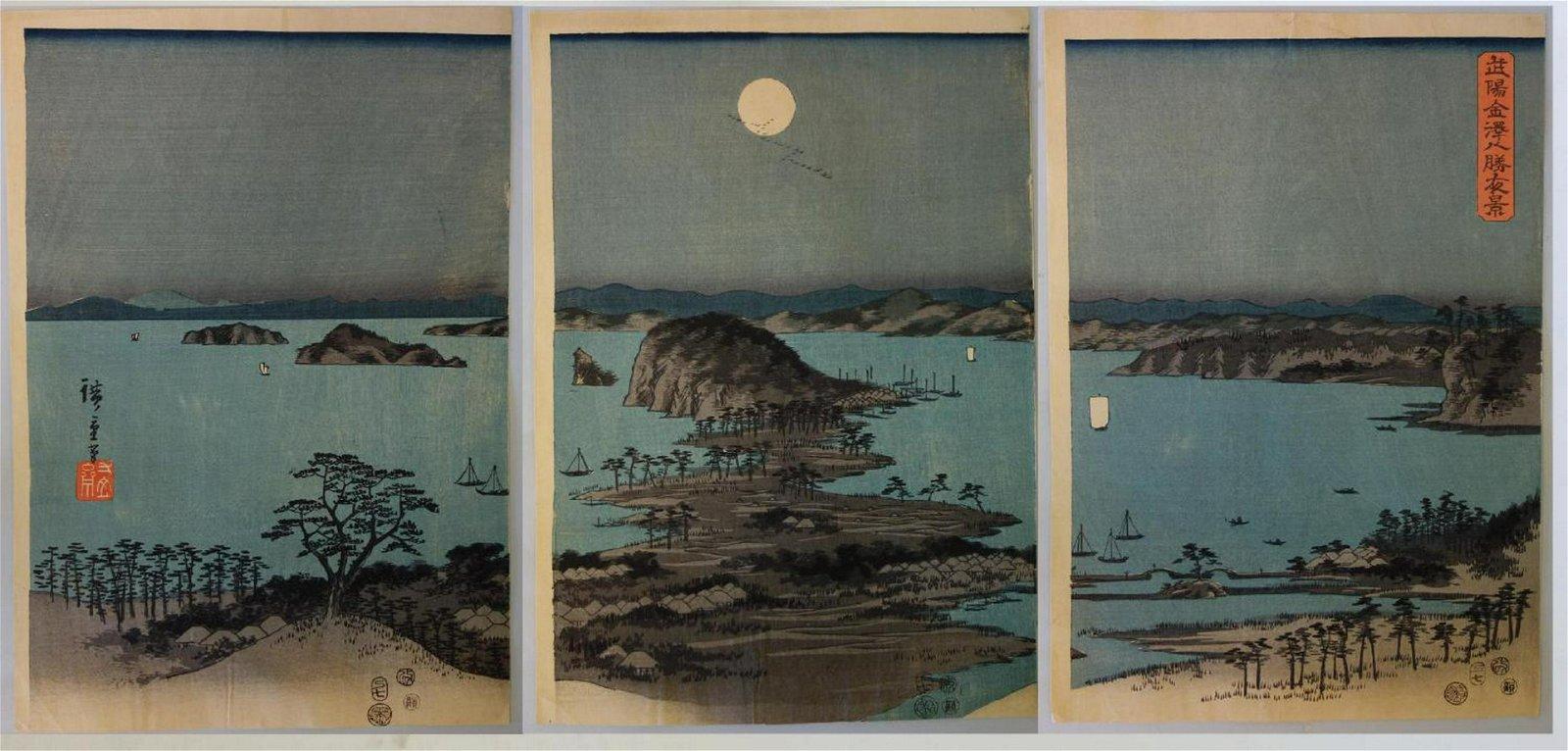 Hiroshige, Evening View at Kanazawa Triptych