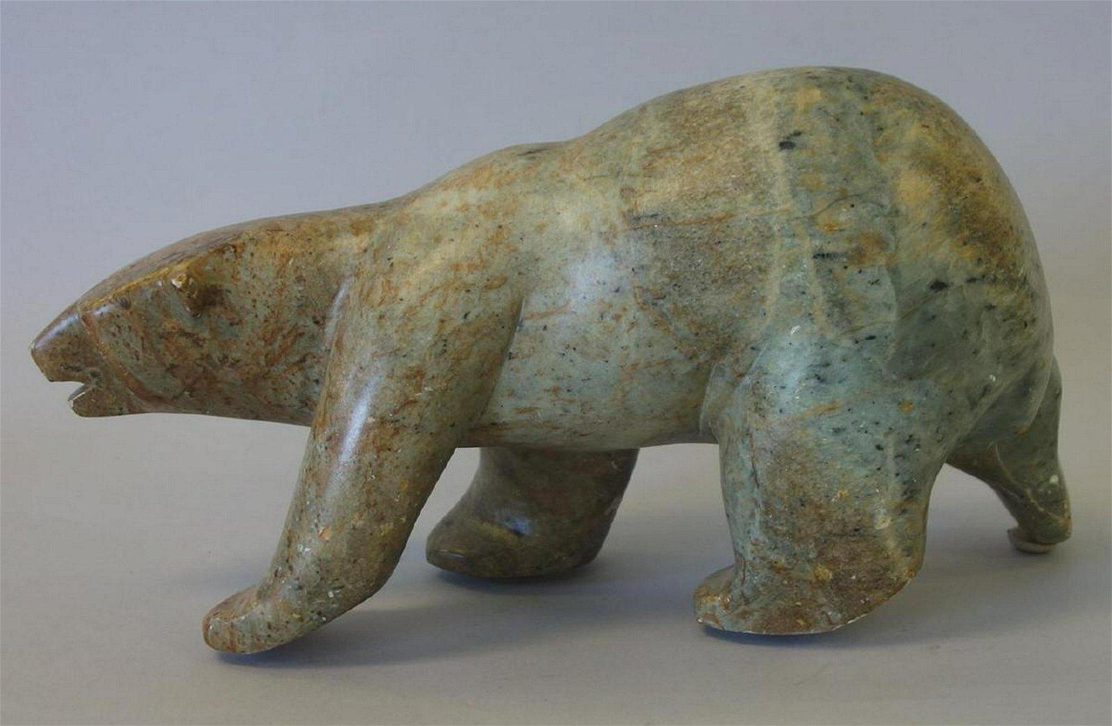 Large Inuit Carved Soapstone Polar Bear, Signed