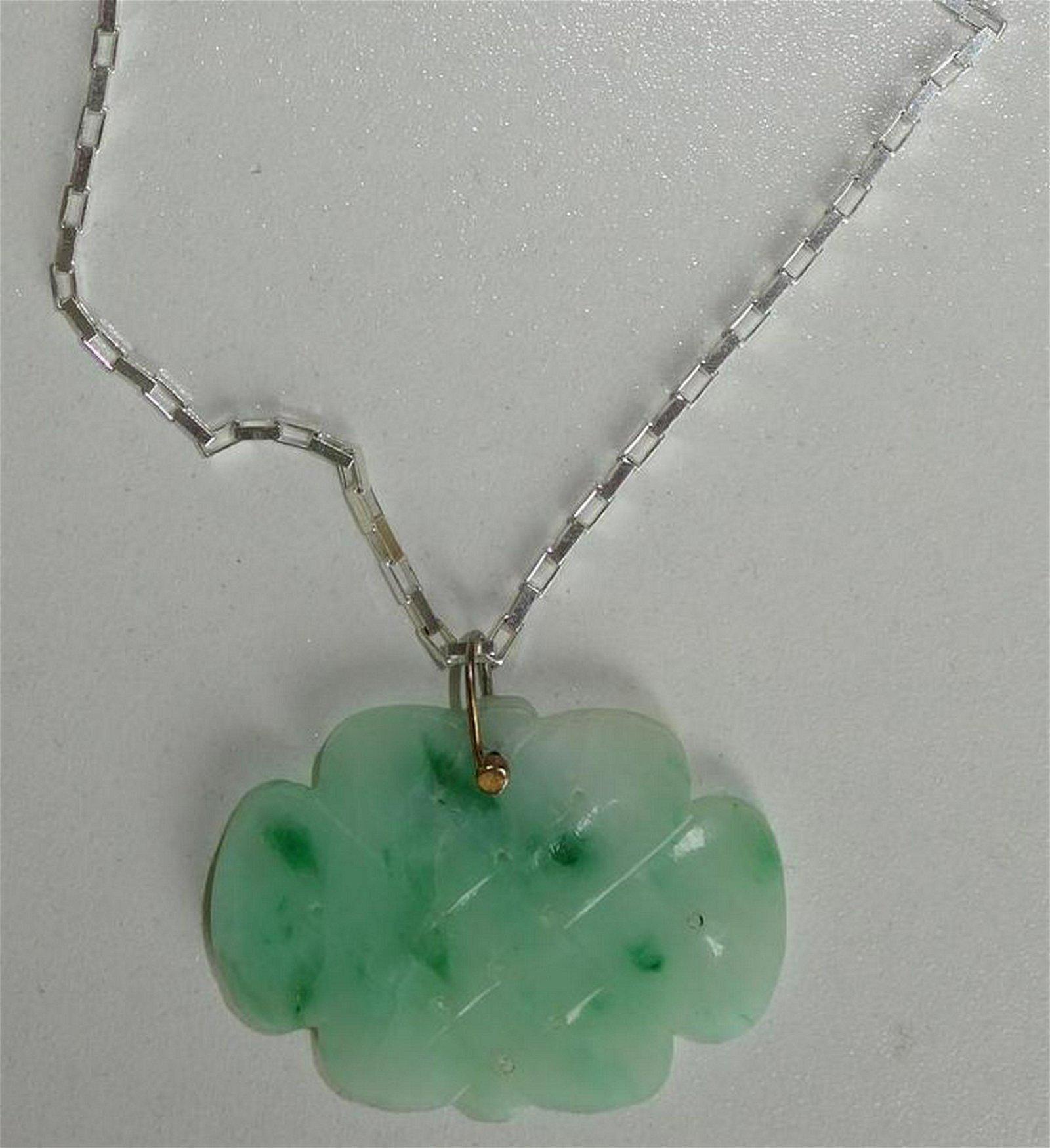 Carved Jade Pendant & Sterling Silver Necklace