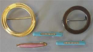 14K Gold Enamel  Sterling Pins