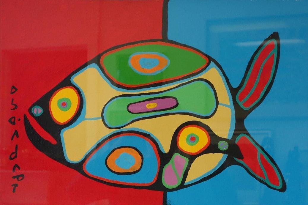 Norval Morrisseau (1932-2007) Fish, Acrylic