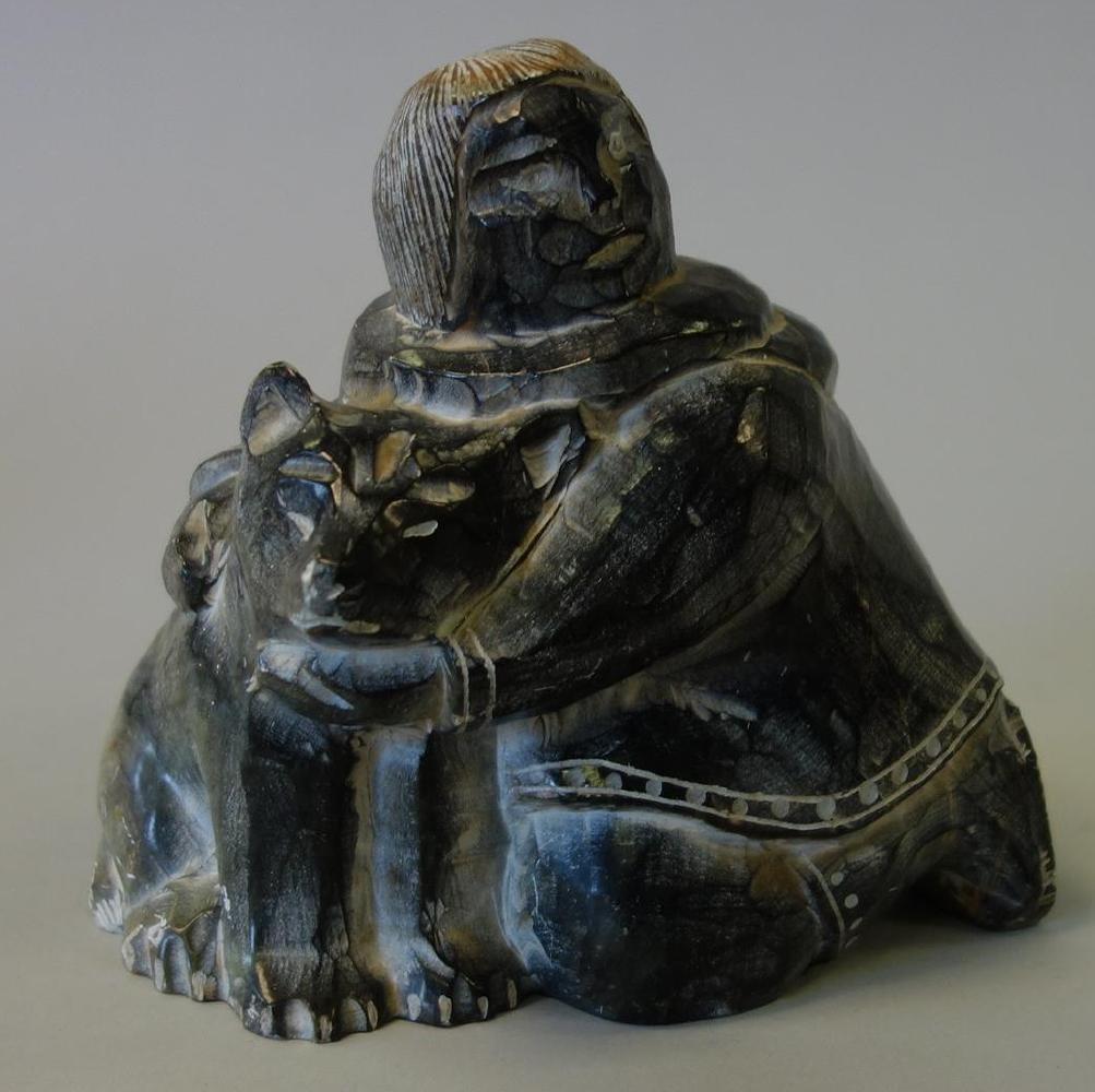 Ynoalook Inuit Eskimo Stone Carving, Man & Husky