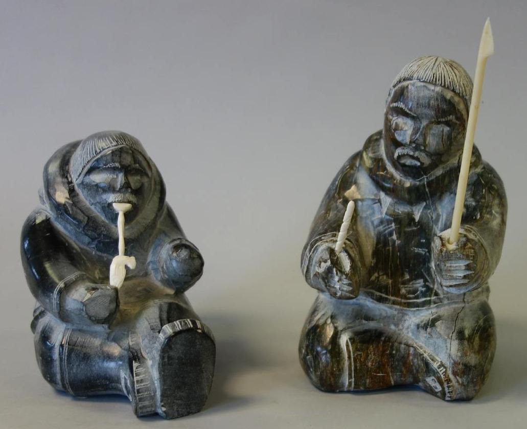 2 Inuit Eskimo Stone Carvings by Ynoalook