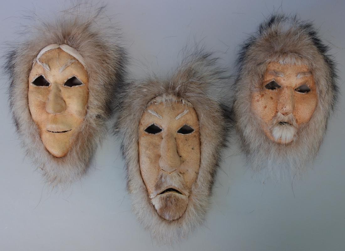 3 Alaskan Inuit Eskimo Spirit Masks