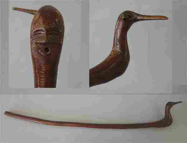 Native American Carved Walking Stick, Shorebird +