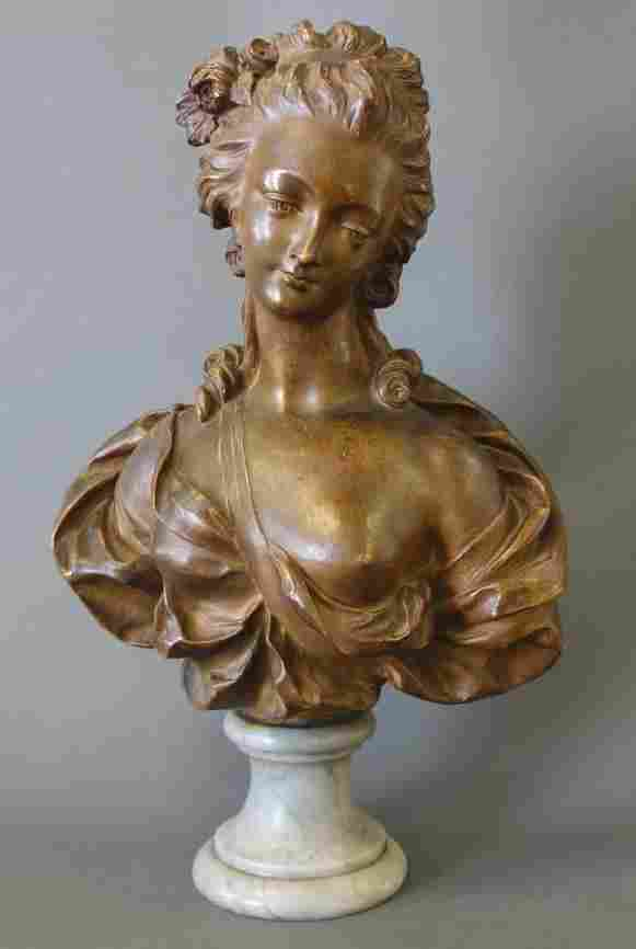 19thc Terracotta Portrait Bust of a Woman
