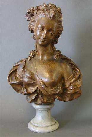 19thc Terracotta Portrait Bust of a Woman