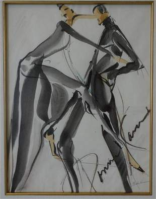 Donna Karan, Watercolor Design Sketch, Signed