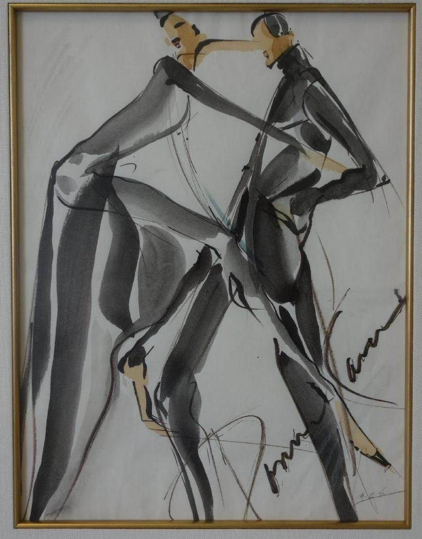 Donna Karan, Watercolor Design Sketch, Signed