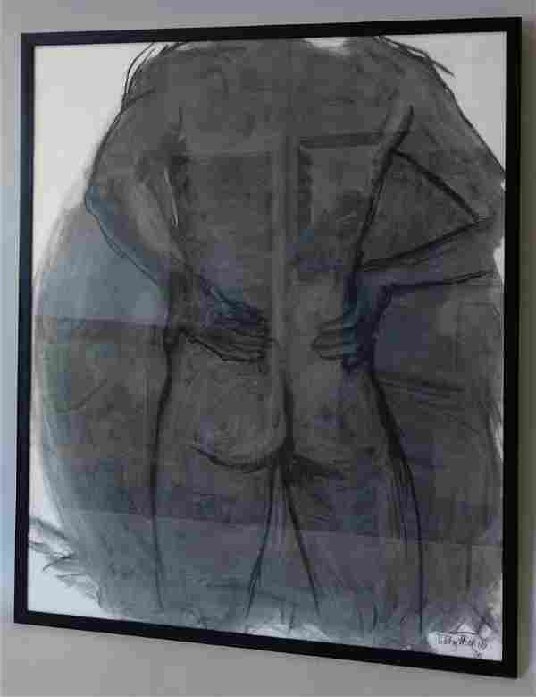 Male Nude by Libby Hill, Charcoal Drawing, 1995