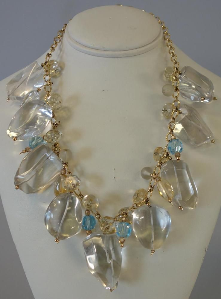Rock Crystal Necklace with Tourmaline & Citrine