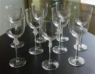 9 Lalique Crystal Wine Goblets, Roxane Ptn