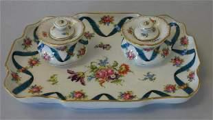 Dresden Porcelain Inkstand & Inkwells