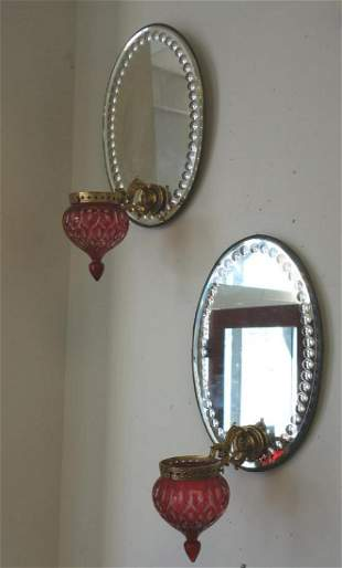 Sconces, Mirror Back & Ruby Glass Epergne Bowls
