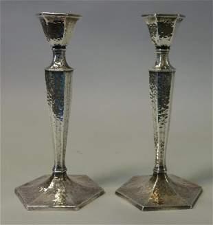 Weidlich Hammered Silverplate Candlesticks