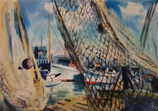 Gerald L Grace (1918-1994) Nautical Watercolor
